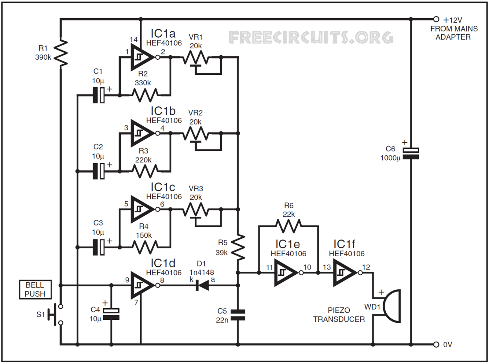 Audio Projects Fossis Circuit Diagram Of 12 Doorbell Tones Click On To Enlarge